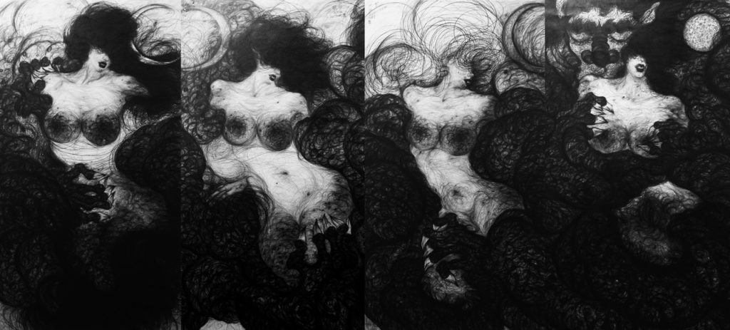 1-1The Creation of Female Myth ,2011 Pencils on the paper, Bronze powder