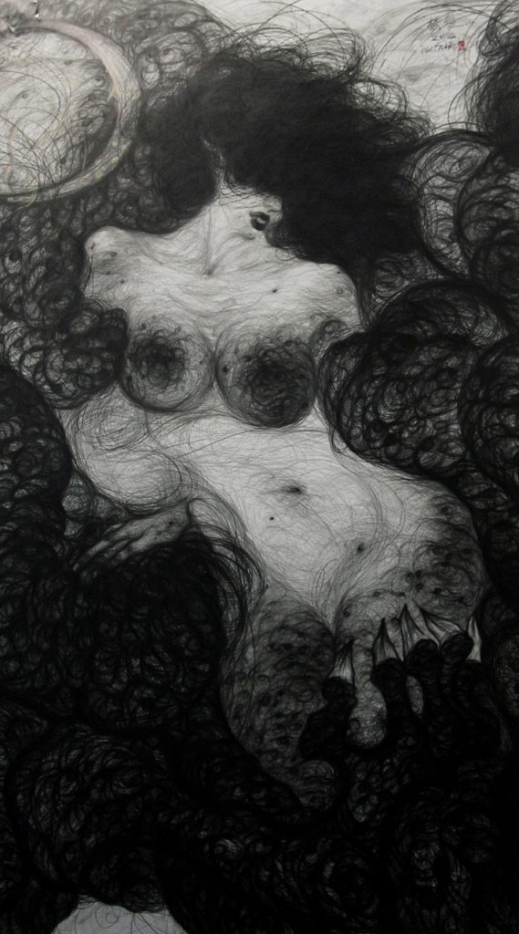 The Creation of Female Myth – 268cm x 158cm ,2011 Pencils on the paper, Bronze powder JPGJPG (1)