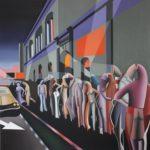 quadro con persone stilizzate e un palazzo di R.Cannata