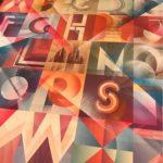 quadro con lettere futuriste di L.Marini